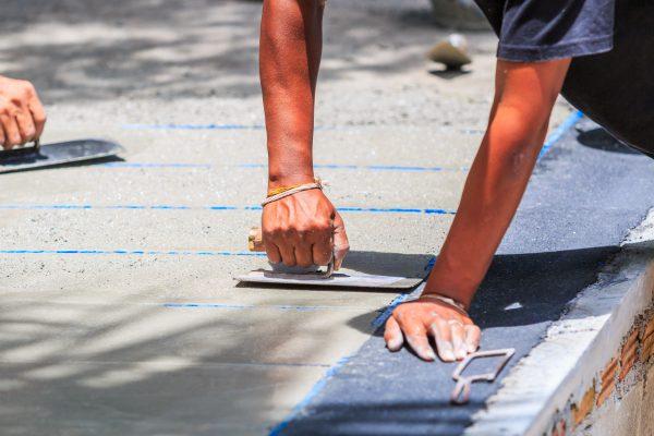 concrete repair with trowel tool