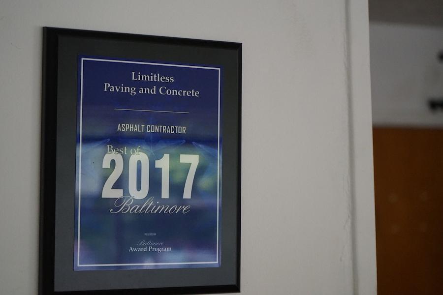 Baltimore paving company award