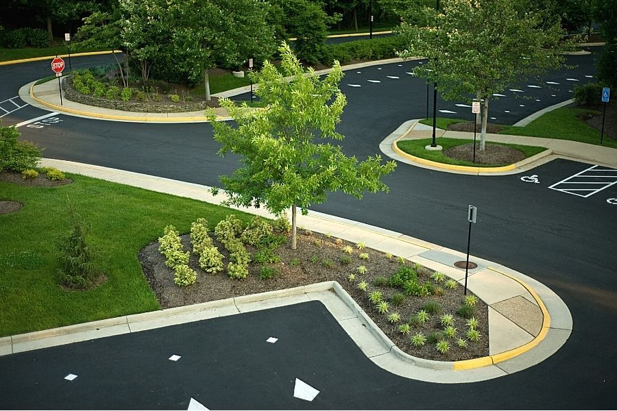 Commercial extruded curb installation
